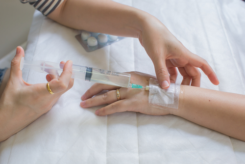 ruža penicilín injekcia