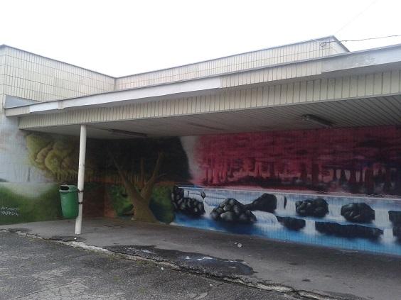 graffiti Pinelova nemocnica zastávka