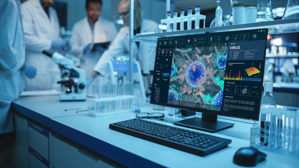 Laboratórium a covid na obrazovke