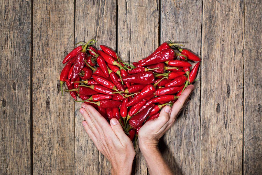 čili papričky v tvare srdca
