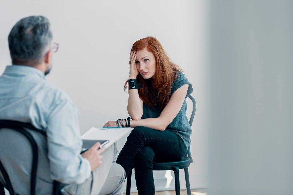Žena na psychologickom sedení